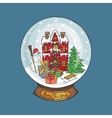 Christmas Snow globeDoodle town vector image