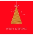 Hanging fir tree with bow Scribble effect Merry vector image