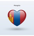 Love Mongolia symbol Heart flag icon vector image