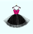 pink and black dress vector image