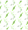 Seamless of treble clefs and notes on branches vector image