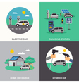 Electric Car 4 Flat Icons Square vector image