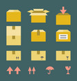 brown paper box with flat style icons vector image