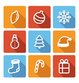 Set of flat christmas icons with long shadow vector image vector image