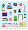 Pixel art isolated office tools set vector image
