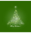 Christmas Tree of Lights on Green Background vector image