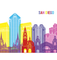 San Diego skyline pop vector image