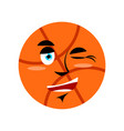 basketball winking emoji ball happy emotion vector image
