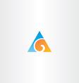 blue orange logo letter g triangle icon vector image
