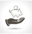 Hand Holding Piggy Bank vector image