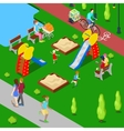 Isometric City City Park with Children Playground vector image