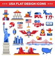 Set of flat design USA travel icons infographics vector image