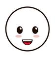 kawaii happy facial expression emoticon icon vector image