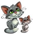 Sad cartoon gray kitty animal vector image