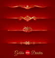 set of golden decorative dividers vector image vector image