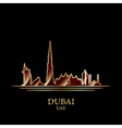 Gold silhouette of Dubai on black background vector image
