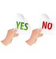 Hand with Yes and No Signs vector image vector image