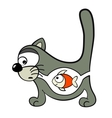cat with fish inside vector image