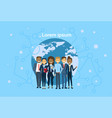 diverse group of businesspeople over world map vector image