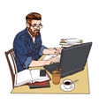 hipster man in a jeans jacket at work A large vector image