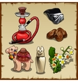 Set of Oriental elements and accessories vector image