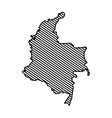 silhouette colombian map striped lines vector image