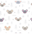 tribal seamless pattern with cartoon mouses vector image