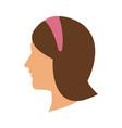 profile head woman with diadem hair vector image