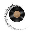 vinyl disc with music notes flying out in spiral vector image vector image