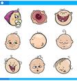 cartoon babies faces set vector image