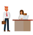 businesswoman and businessman interview in office vector image