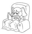 elephant chair reading cartoon vector image