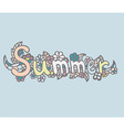 Hand drawn doodle label SUMMER vector image