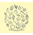 Vegetable line icons with outline style design vector image