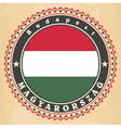 Vintage label cards of Hungary flag vector image