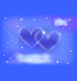 two heart night sky vector image vector image