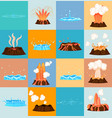 volcano eruption and water discharge by geyser vector image