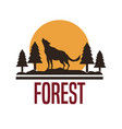 white background with logo forest with wolf vector image