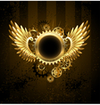 round banner with Steampunk wings vector image