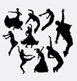 cool dancer male and female silhouette vector image