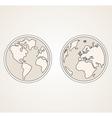 Planet Earth both globes retro sepia vector image vector image