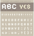 abc font from paper tape vector image