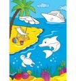 Coloring Book Of Sea And Marina Life vector image