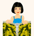 girl and clasp on fabrics vector image