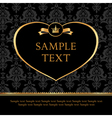 Golden Label Heart on Damask black Background vector image