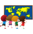 kids looking at worldmap on board vector image