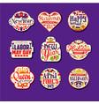 set of colorful flat retro festive logo or label vector image