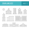 Set of line flat design buildings icons vector image