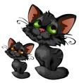 Sly cartoon black kitten animal vector image
