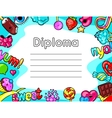 Kawaii diploma with sweets and candies Crazy vector image